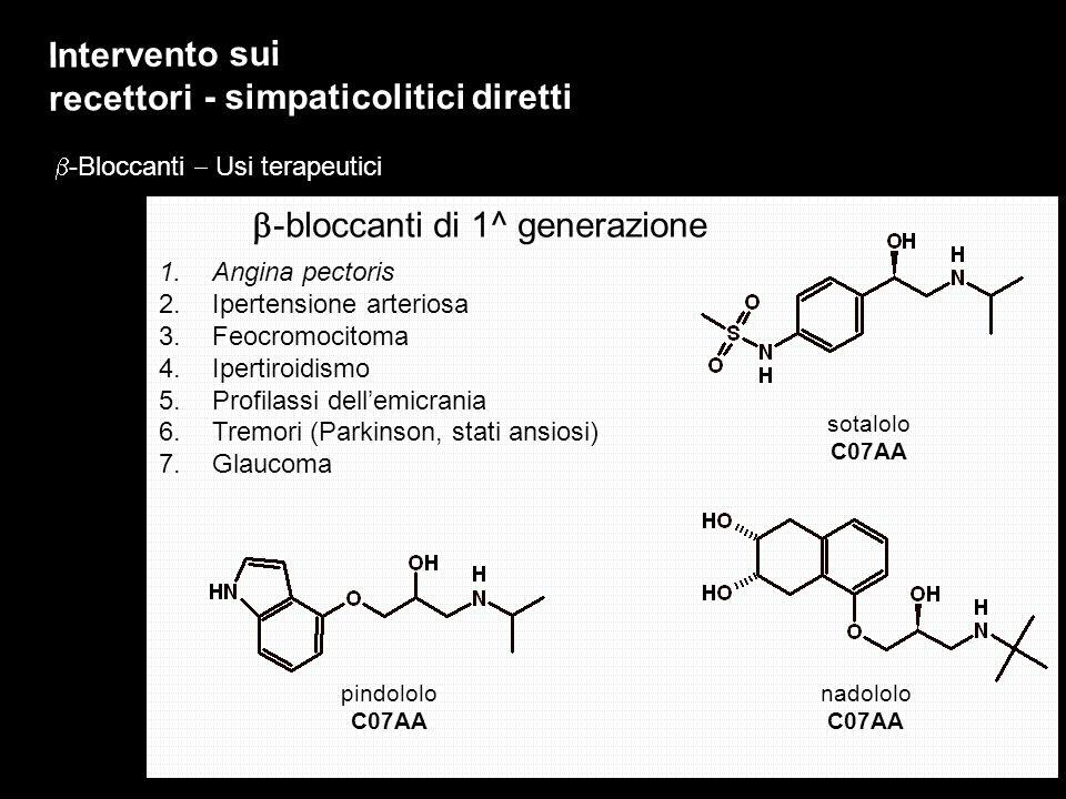 Intervento sui recettori - simpaticolitici diretti -Bloccanti Usi terapeutici 1.Angina pectoris 2.Ipertensione arteriosa 3.Feocromocitoma 4.Ipertiroid