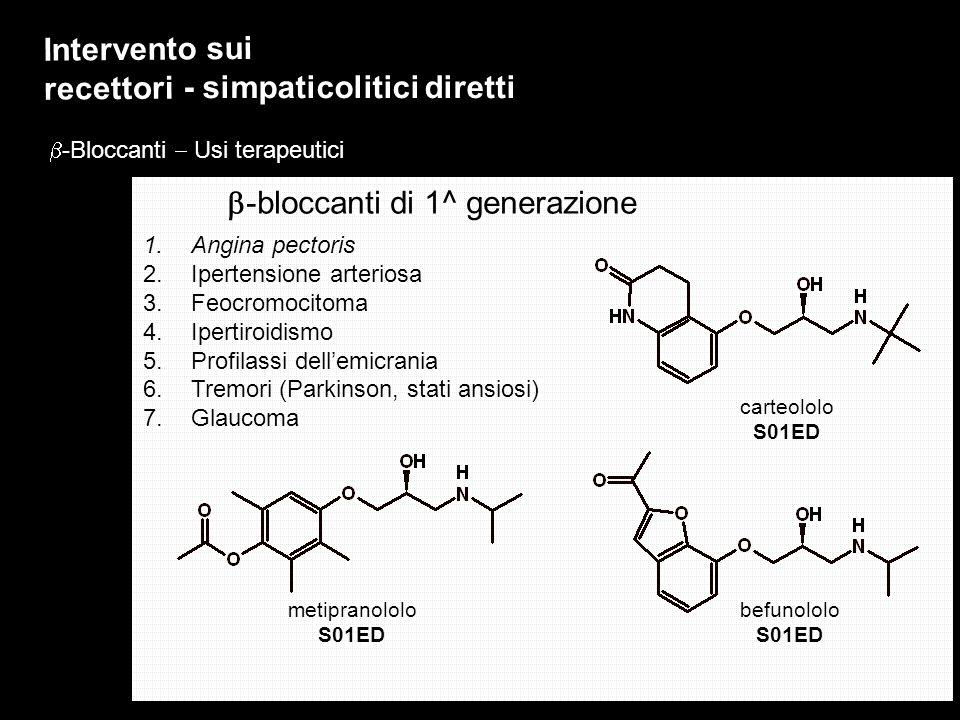 Intervento sui recettori - simpaticolitici diretti -Bloccanti Usi terapeutici befunololo S01ED carteololo S01ED -bloccanti di 1^ generazione 1.Angina