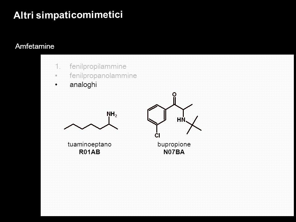Altri simpaticomimetici Amfetamine 1.fenilpropilammine fenilpropanolammine analoghi bupropione N07BA tuaminoeptano R01AB