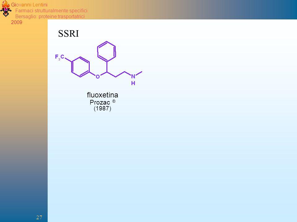 Giovanni Lentini Farmaci strutturalmente specifici Bersaglio: proteine trasportatrici 2009 27 SSRI fluoxetina Prozac ® (1987)