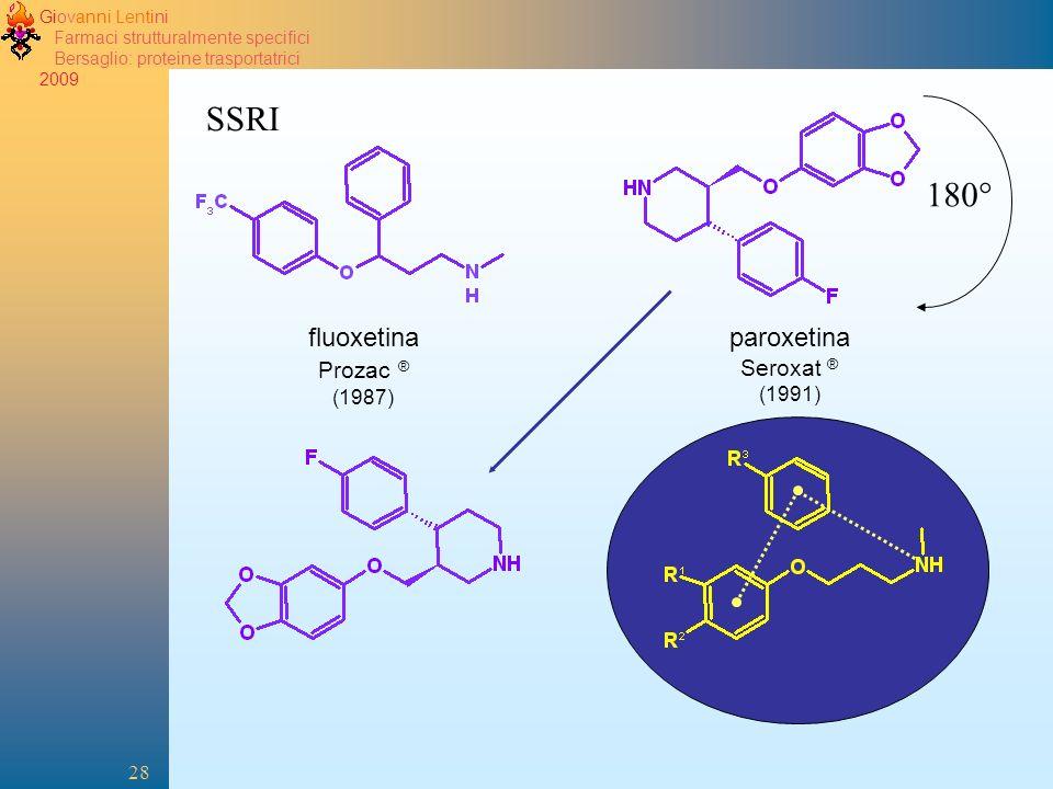 Giovanni Lentini Farmaci strutturalmente specifici Bersaglio: proteine trasportatrici 2009 28 fluoxetina Prozac ® (1987) SSRI paroxetina Seroxat ® (1991) 180°