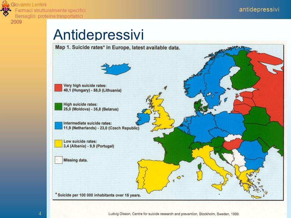 Giovanni Lentini Farmaci strutturalmente specifici Bersaglio: proteine trasportatrici 2009 4 antidepressivi Antidepressivi