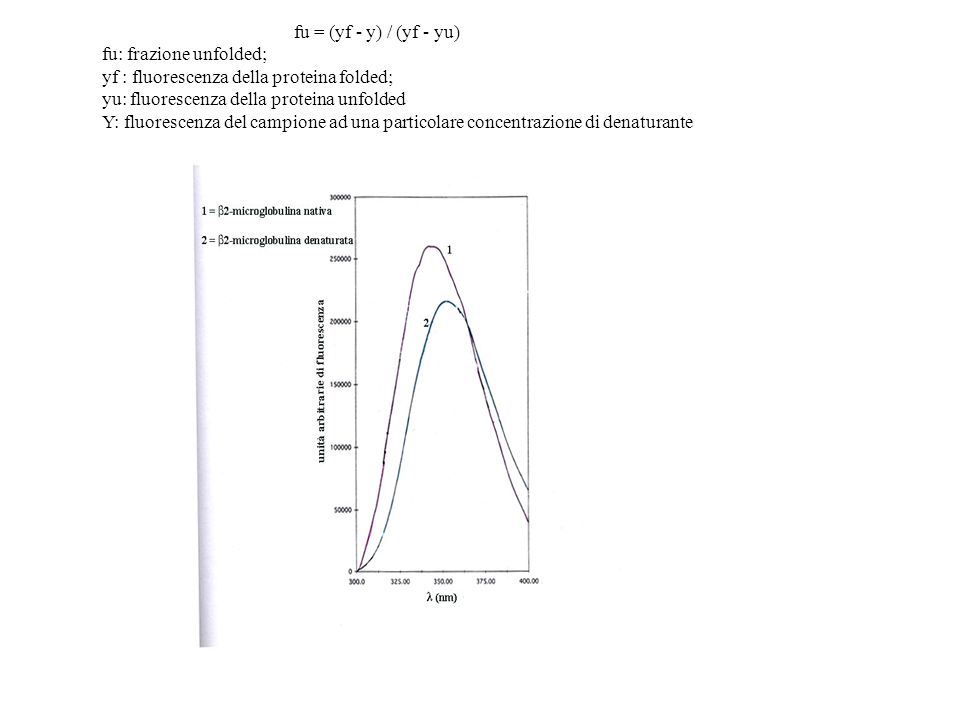 fu = (yf - y) / (yf - yu) fu: frazione unfolded; yf : fluorescenza della proteina folded; yu: fluorescenza della proteina unfolded Y: fluorescenza del campione ad una particolare concentrazione di denaturante
