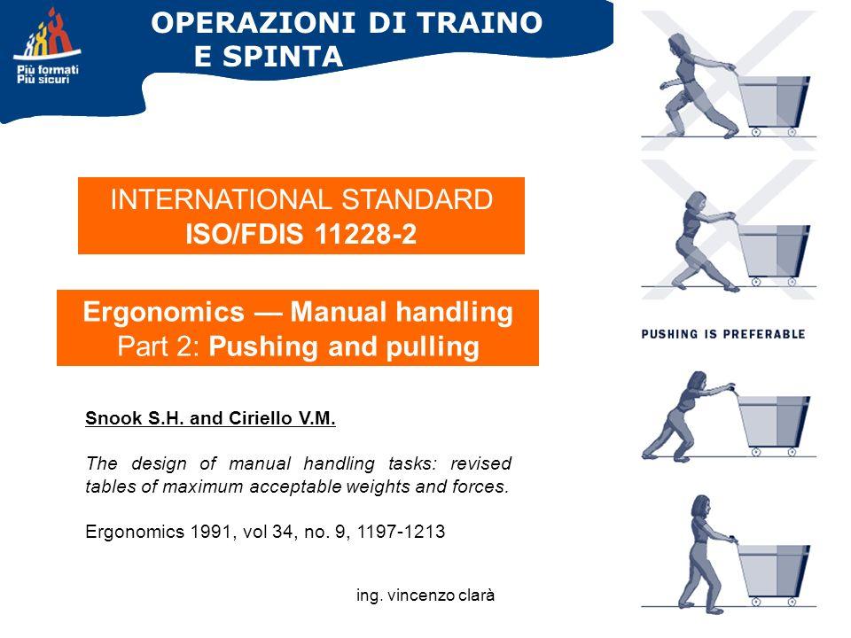 ing. vincenzo clarà OPERAZIONI DI TRAINO E SPINTA Ergonomics Manual handling Part 2: Pushing and pulling INTERNATIONAL STANDARD ISO/FDIS 11228-2 Snook