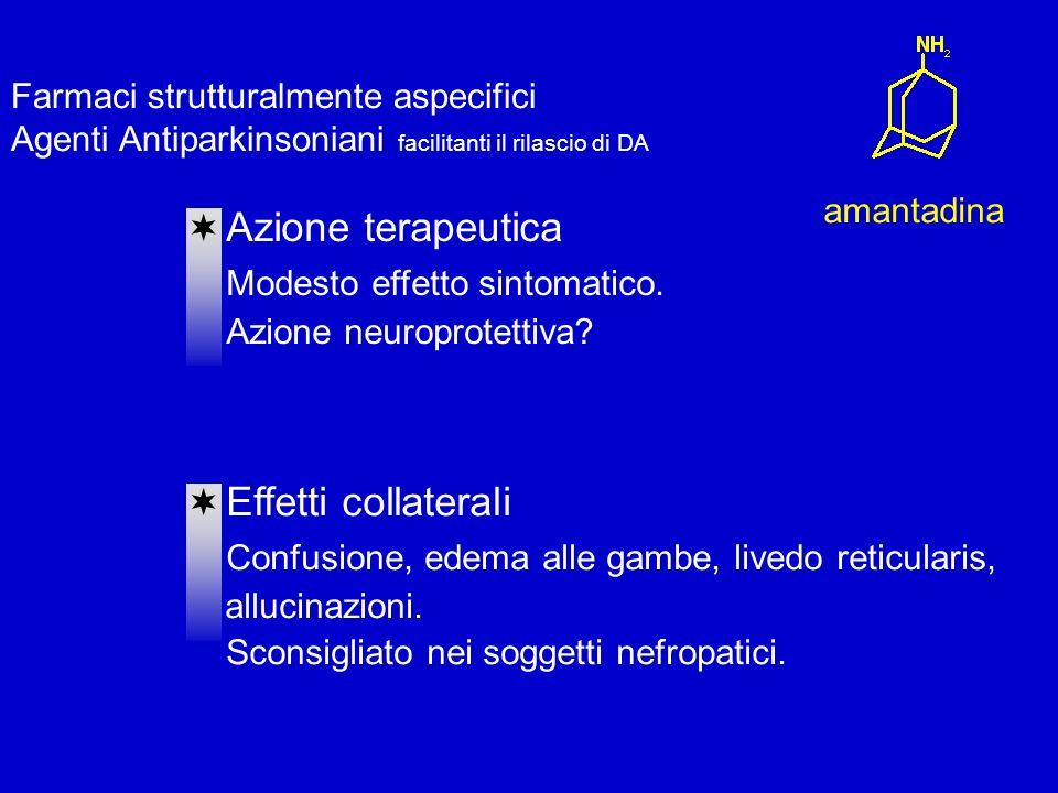 Farmaci strutturalmente aspecifici Agenti Antiparkinsoniani facilitanti il rilascio di DA amantadina Azione terapeutica Modesto effetto sintomatico.