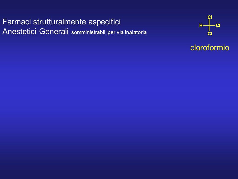 Farmaci strutturalmente aspecifici Anestetici Generali somministrabili per via inalatoria cloroformio