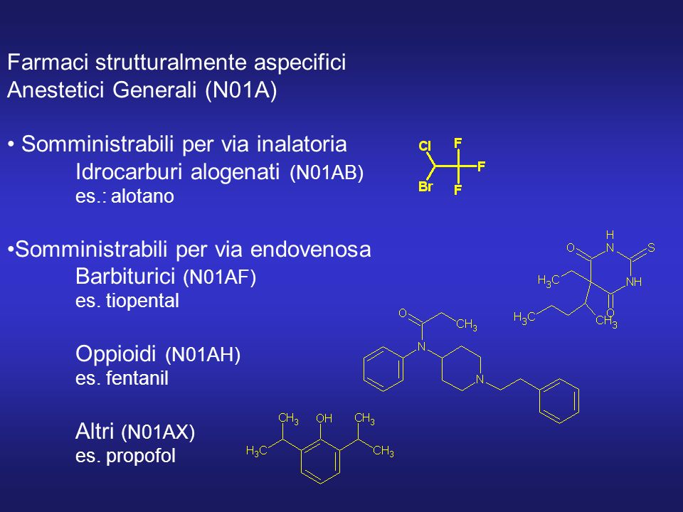 Farmaci strutturalmente aspecifici Anestetici Generali (N01A) Somministrabili per via inalatoria Idrocarburi alogenati (N01AB) es.: alotano Somministrabili per via endovenosa Barbiturici (N01AF) es.