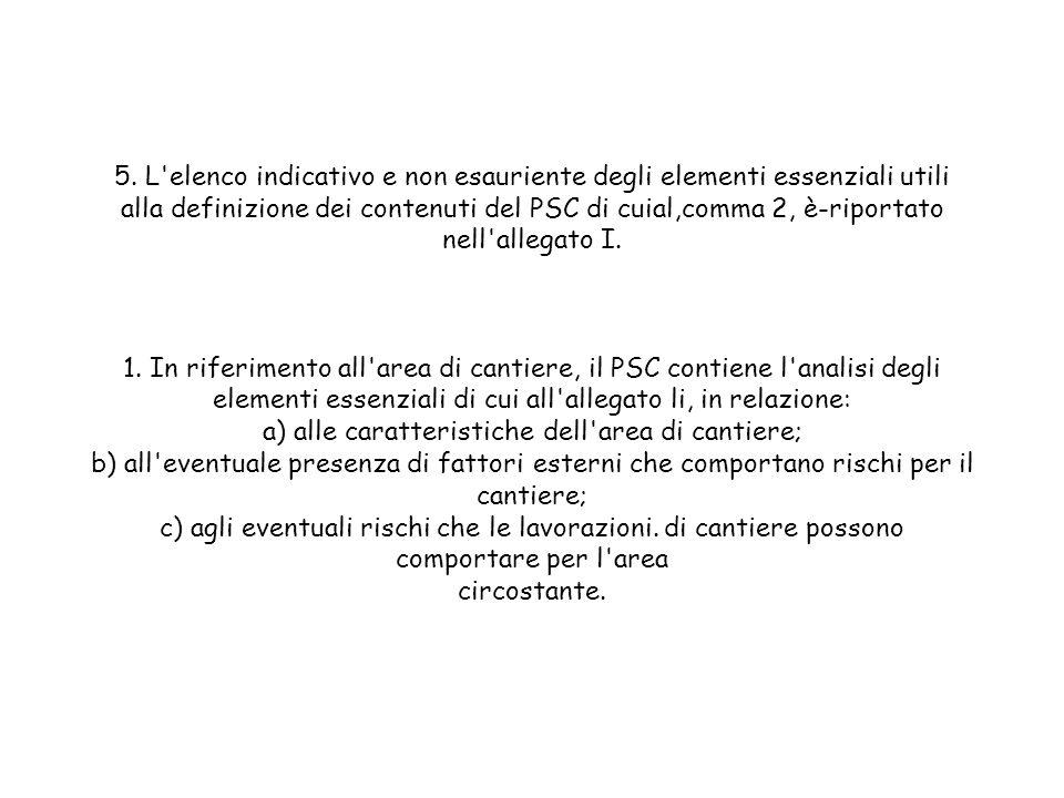 5. L'elenco indicativo e non esauriente degli elementi essenziali utili alla definizione dei contenuti del PSC di cuial,comma 2, è-riportato nell'alle