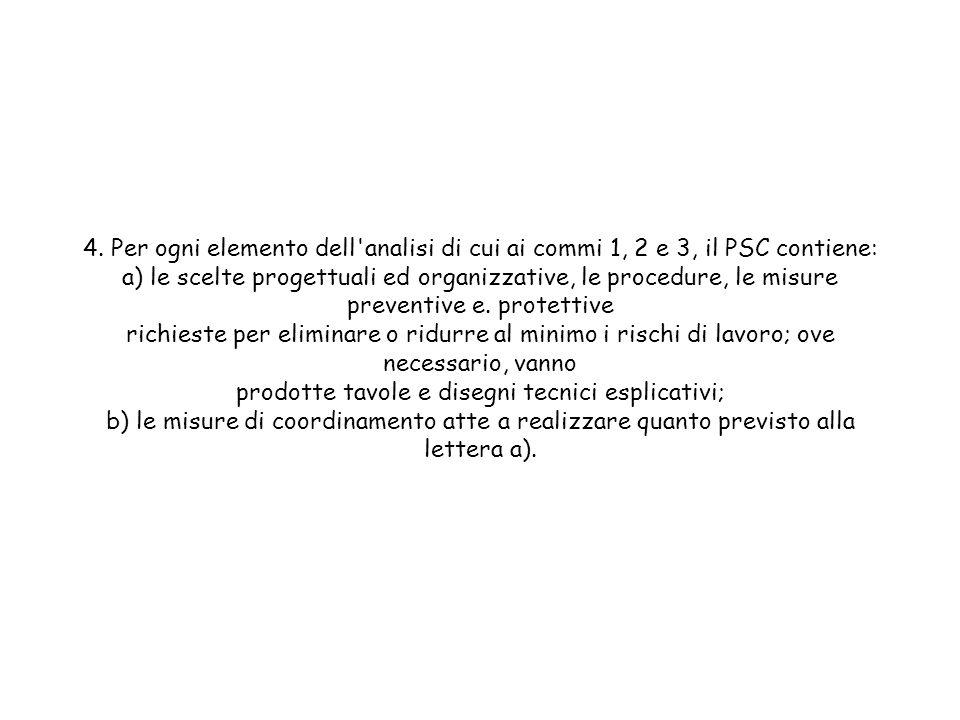 4. Per ogni elemento dell'analisi di cui ai commi 1, 2 e 3, il PSC contiene: a) le scelte progettuali ed organizzative, le procedure, le misure preven