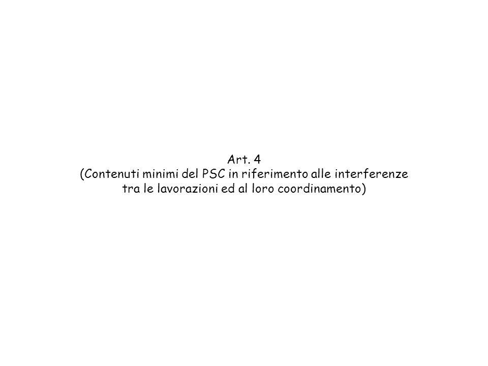Art. 4 (Contenuti minimi del PSC in riferimento alle interferenze tra le lavorazioni ed al loro coordinamento)