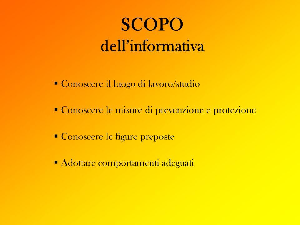 SCOPO dellinformativa Conoscere il luogo di lavoro/studio Conoscere le misure di prevenzione e protezione Conoscere le figure preposte Adottare compor
