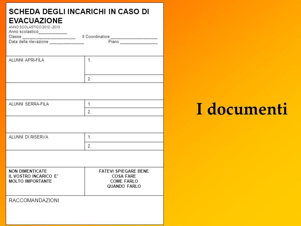 I documenti SCHEDA DEGLI INCARICHI IN CASO DI EVACUAZIONE ANNO SCOLASTICO 2012 - 2013 Anno scolastico_____________ Classe _______________________ Il C