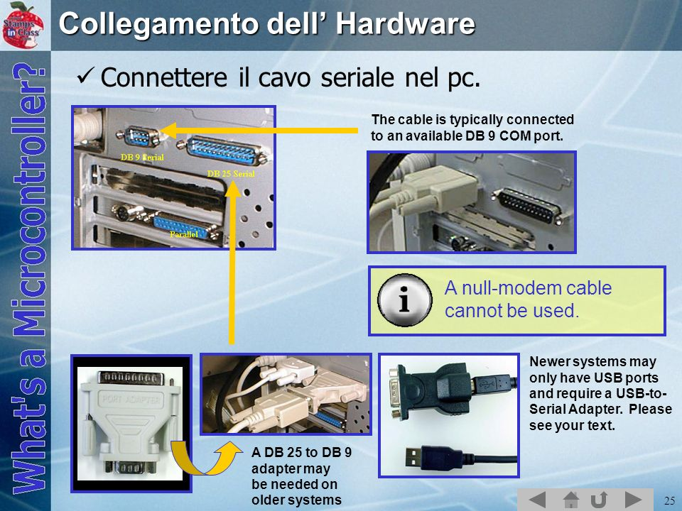 25 Collegamento dell Hardware Connettere il cavo seriale nel pc. The cable is typically connected to an available DB 9 COM port. A DB 25 to DB 9 adapt