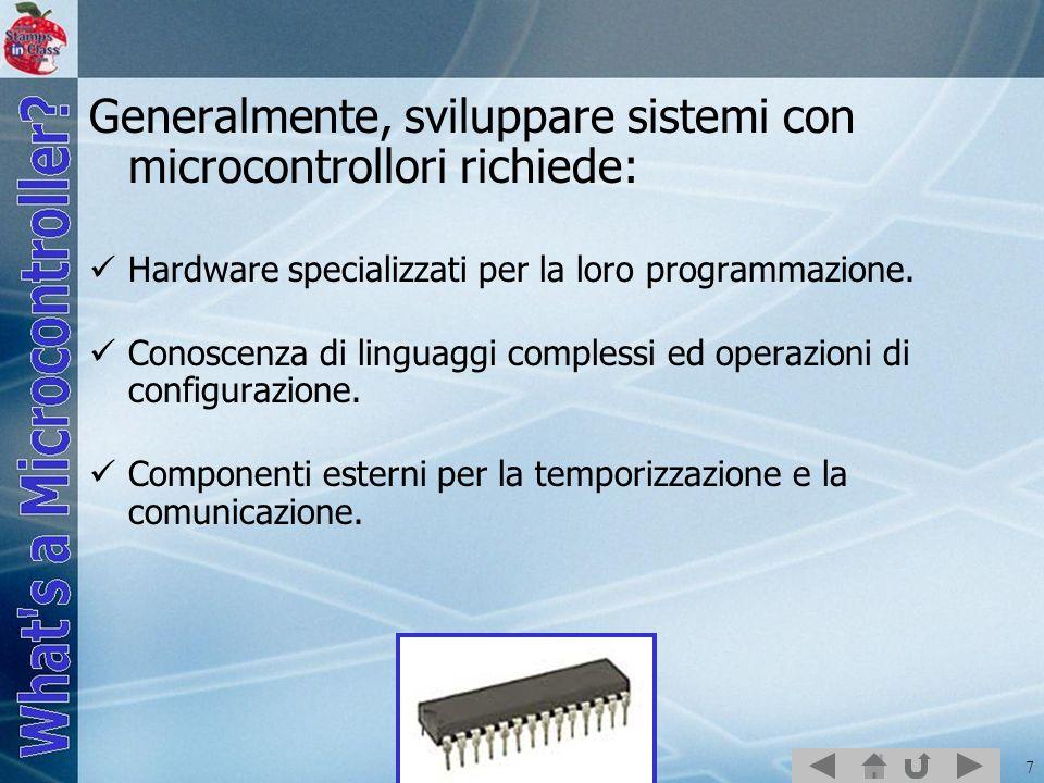 8 The BASIC Stamp 2 Il BASIC Stamp 2 contiene il microcontrollore PIC16C57, su un modulo, per rendere la programmazione più semplice e più efficiente.