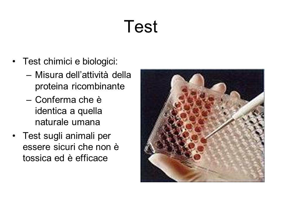Test Test chimici e biologici: –Misura dellattività della proteina ricombinante –Conferma che è identica a quella naturale umana Test sugli animali pe