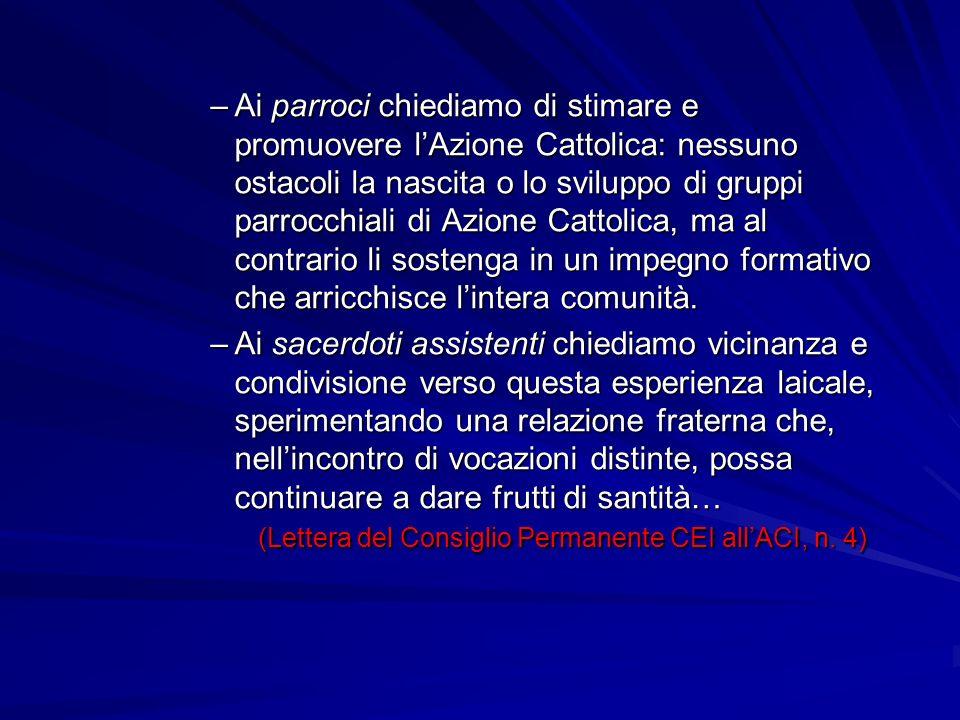 –Ai parroci chiediamo di stimare e promuovere lAzione Cattolica: nessuno ostacoli la nascita o lo sviluppo di gruppi parrocchiali di Azione Cattolica,