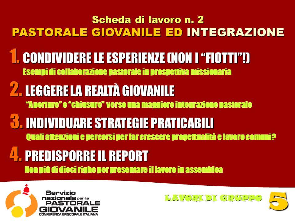 Scheda di lavoro n. 2 PASTORALE GIOVANILE ED INTEGRAZIONE 5 LAVORI DI GRUPPO 1.