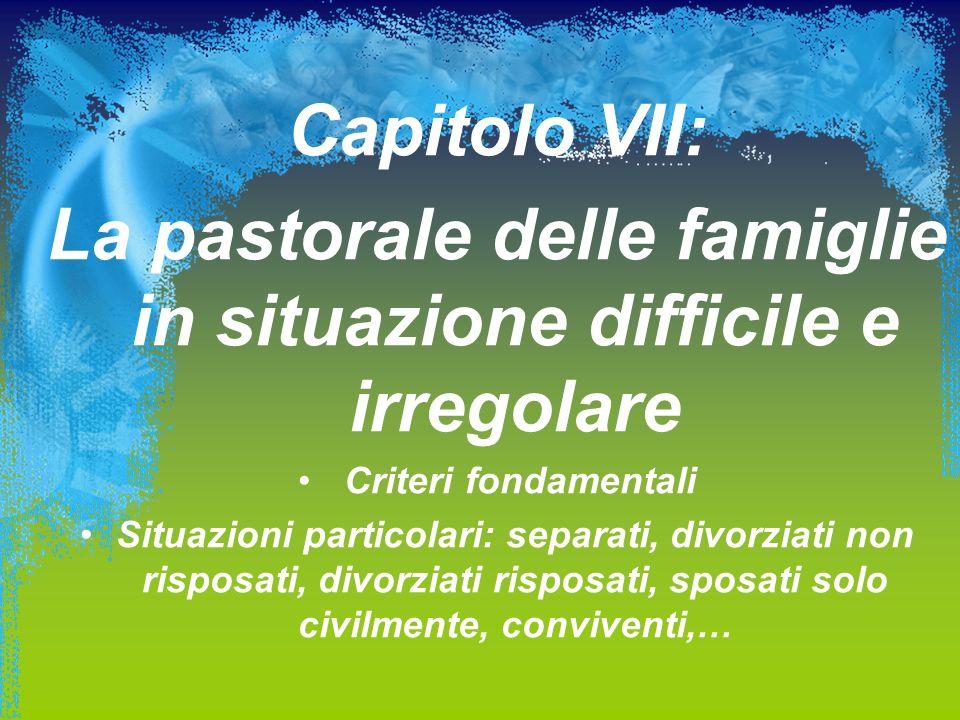Capitolo VII: La pastorale delle famiglie in situazione difficile e irregolare Criteri fondamentali Situazioni particolari: separati, divorziati non r