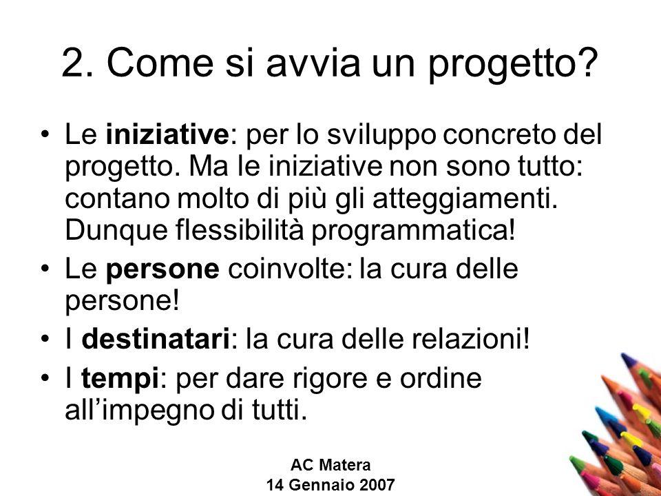 AC Matera 14 Gennaio 2007 2. Come si avvia un progetto.