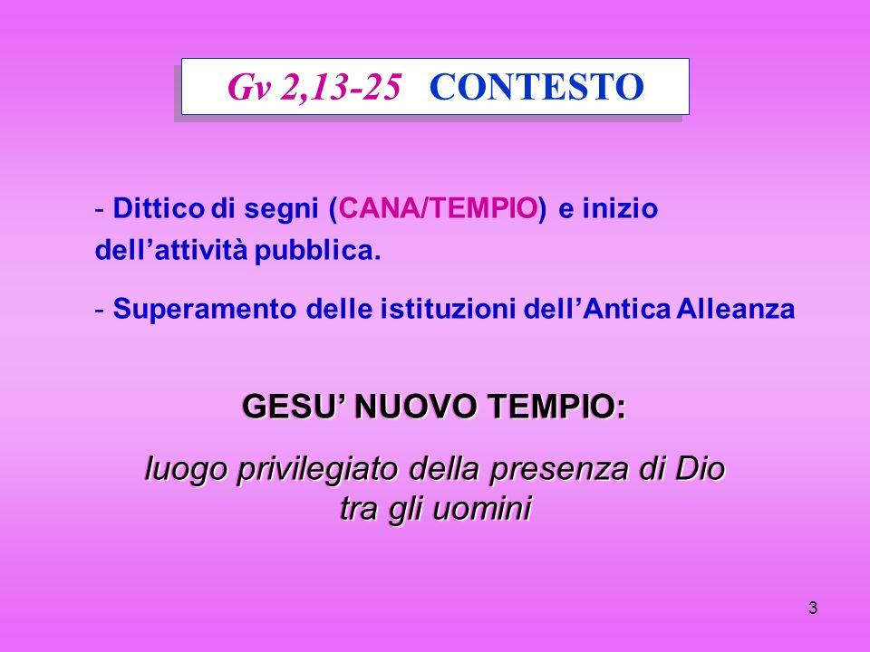 3 Gv 2,13-25 CONTESTO - - Dittico di segni (CANA/TEMPIO) e inizio dellattività pubblica. - - Superamento delle istituzioni dellAntica Alleanza GESU NU