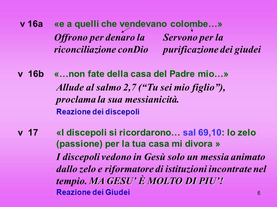 6 v 16a Offrono per denaro la riconciliazione conDio «e a quelli che vendevano colombe…» v 16b Allude al salmo 2,7 (Tu sei mio figlio), proclama la su