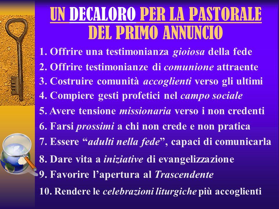 UN DECALORO PER LA PASTORALE DEL PRIMO ANNUNCIO 1. Offrire una testimonianza gioiosa della fede 2. Offrire testimonianze di comunione attraente 3. Cos