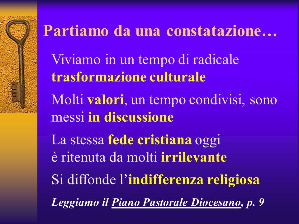 Partiamo da una constatazione… Viviamo in un tempo di radicale trasformazione culturale Molti valori, un tempo condivisi, sono messi in discussione La