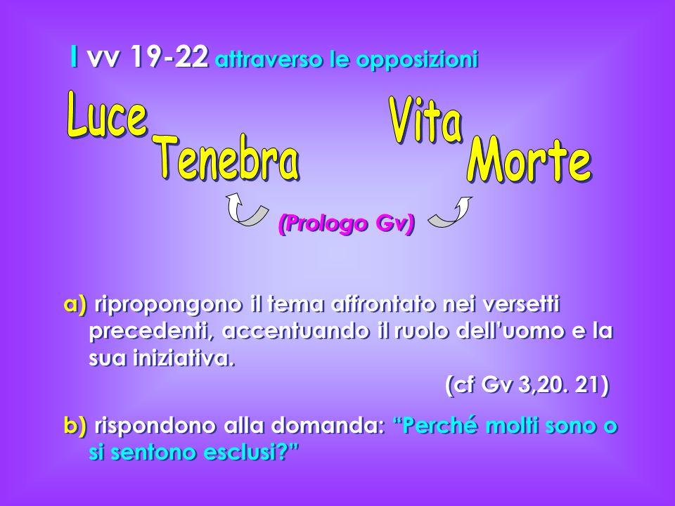 I vv 19-22 attraverso le opposizioni (Prologo Gv) a) a) ripropongono il tema affrontato nei versetti precedenti, accentuando il ruolo delluomo e la su