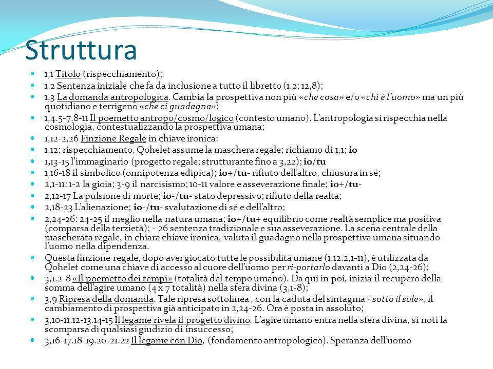 Struttura 1,1 Titolo (rispecchiamento); 1,2 Sentenza iniziale che fa da inclusione a tutto il libretto (1,2; 12,8); 1,3 La domanda antropologica. Camb