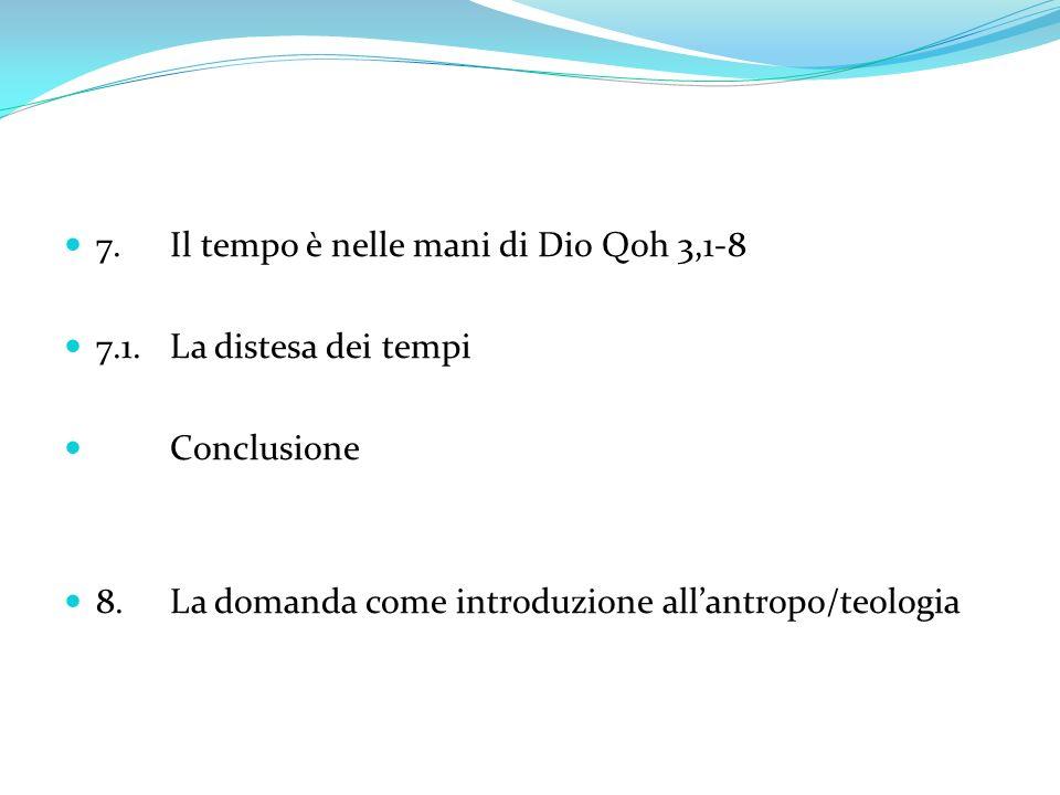 9.Lantropo/teo/logia è il progetto divino Qoh 3,10-15 9.1.Lantropo/teo/logia della creazione 3,10-11 9.1.1.Il lavoro delluomo è compartecipare allagire di Dio 3,10 9.2.La «quinta» essenza del libretto Qoh 3,11 9.2.1.La «bellezza» del creato, dono di Dio 9.2.2.Il «desiderio del tempo» al secondo grado 9.3.Lantropo/teo/logia del dono 3,12-13 9.3.1.Il dono è presenza di Dio 9.3.2.Luomo tra «dono» e «grazia» 9.4.La consapevolezza della presenza di Dio 3,14-15 9.4.1.Il «timor di Dio» grembo fecondo 3,14-15 9.4.2.Il dono, nella libertà della fede, diviene grazia per luomo 9.5.Dio, Signore della storia 3,15 Conclusione