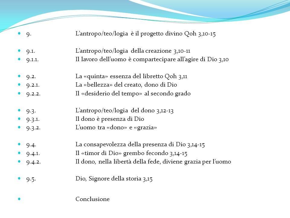 9.Lantropo/teo/logia è il progetto divino Qoh 3,10-15 9.1.Lantropo/teo/logia della creazione 3,10-11 9.1.1.Il lavoro delluomo è compartecipare allagir