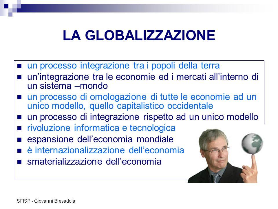 SFISP - Giovanni Bresadola LA GLOBALIZZAZIONE un processo integrazione tra i popoli della terra unintegrazione tra le economie ed i mercati allinterno