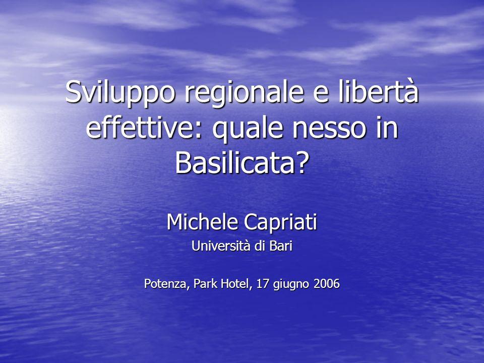 Sviluppo regionale e libertà effettive: quale nesso in Basilicata.