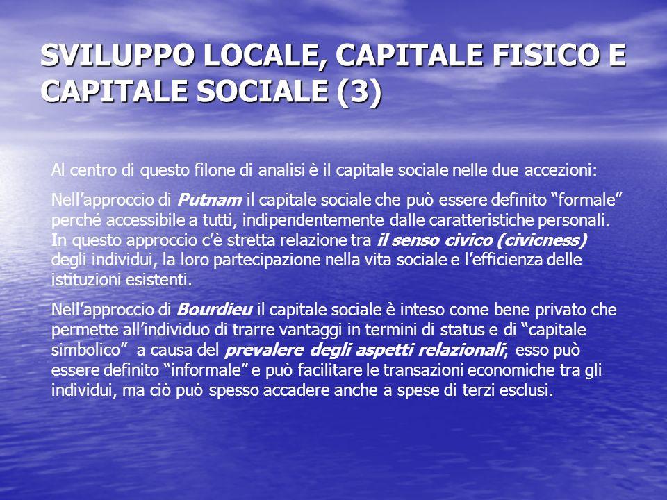 SVILUPPO LOCALE, CAPITALE FISICO E CAPITALE SOCIALE (3) Al centro di questo filone di analisi è il capitale sociale nelle due accezioni: Nellapproccio di Putnam il capitale sociale che può essere definito formale perché accessibile a tutti, indipendentemente dalle caratteristiche personali.