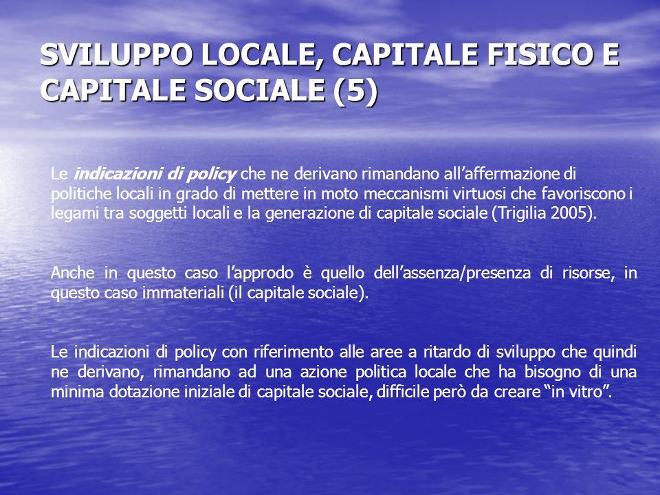 SVILUPPO LOCALE, CAPITALE FISICO E CAPITALE SOCIALE (5) Le indicazioni di policy che ne derivano rimandano allaffermazione di politiche locali in grado di mettere in moto meccanismi virtuosi che favoriscono i legami tra soggetti locali e la generazione di capitale sociale (Trigilia 2005).