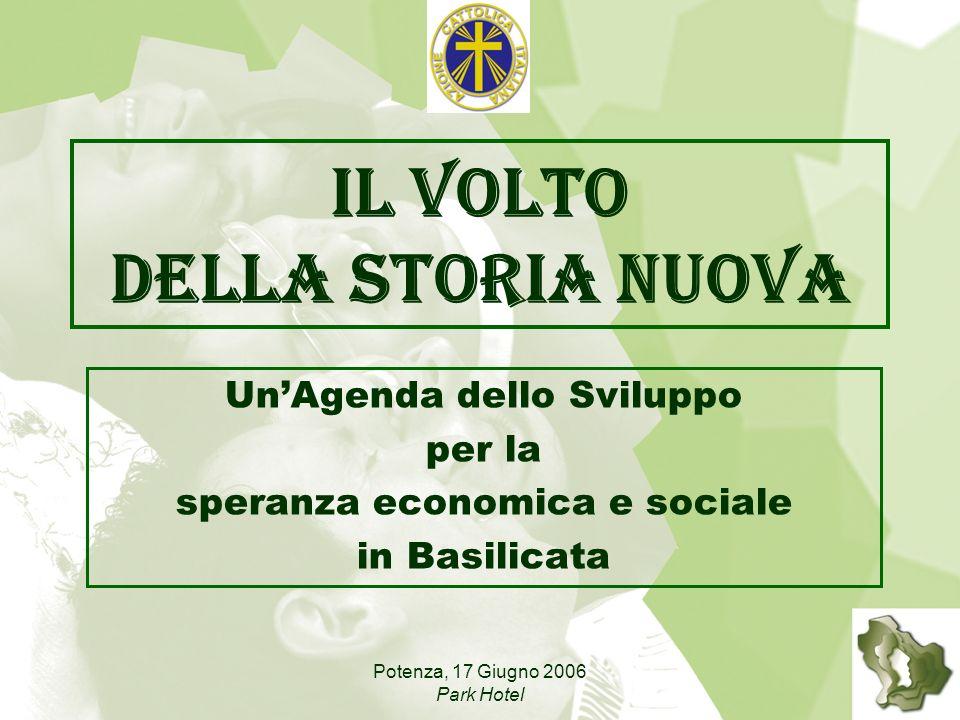 Potenza, 17 Giugno 2006 Park Hotel Il volto della storia nuova UnAgenda dello Sviluppo per la speranza economica e sociale in Basilicata