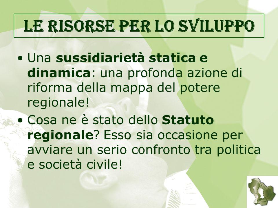 Le risorse per lo sviluppo Una sussidiarietà statica e dinamica: una profonda azione di riforma della mappa del potere regionale.
