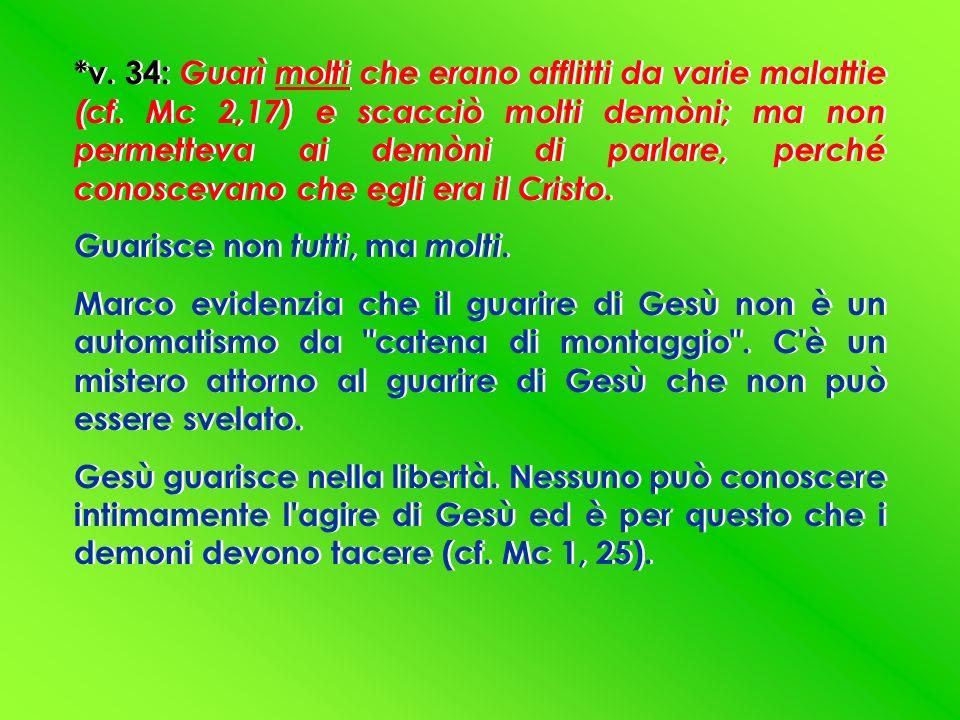 *v. 34: Guarì molti che erano afflitti da varie malattie (cf. Mc 2,17) e scacciò molti demòni; ma non permetteva ai demòni di parlare, perché conoscev