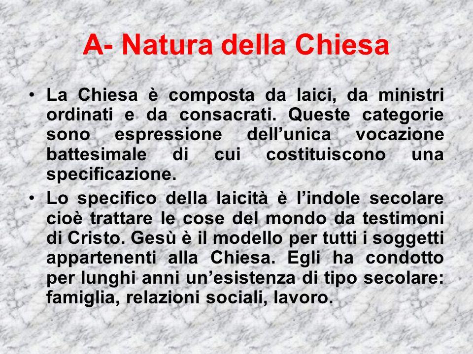 A- Natura della Chiesa La Chiesa è composta da laici, da ministri ordinati e da consacrati.