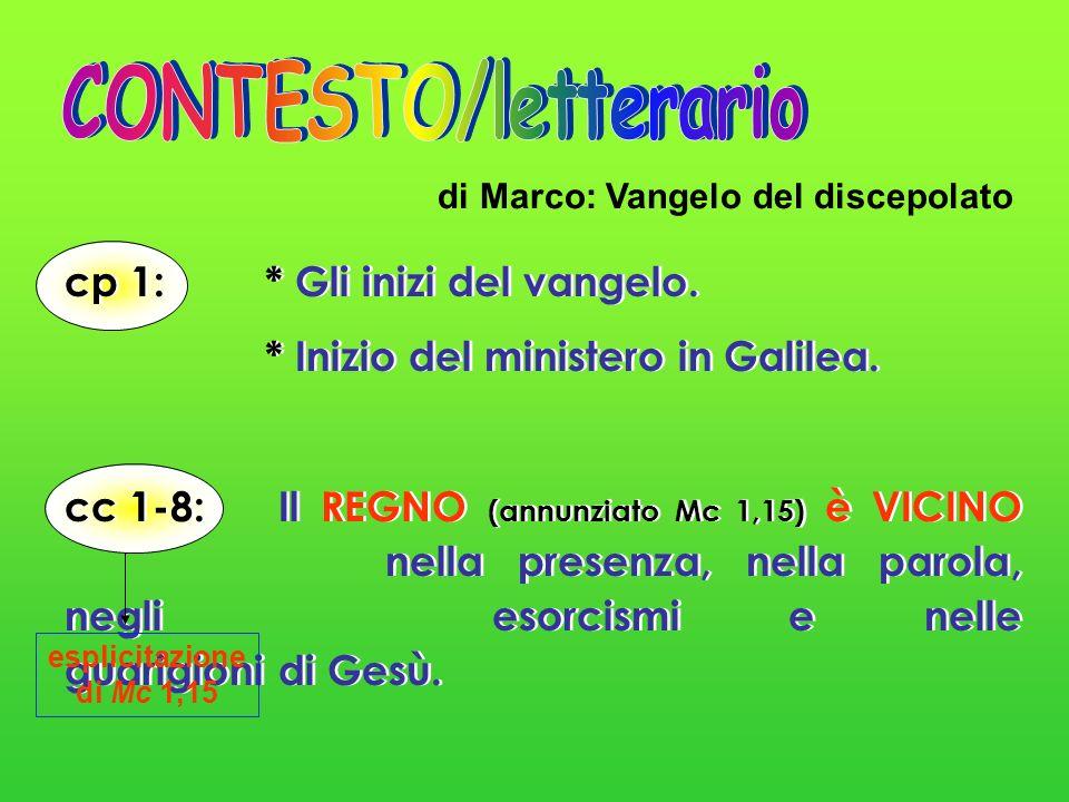 cp 1: * Gli inizi del vangelo. * Inizio del ministero in Galilea. cc 1-8:Il REGNO (annunziato Mc 1,15) è VICINO nella presenza, nella parola, negli es