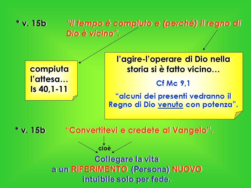 * v. 15b il tempo è compiuto e (perché) il regno di Dio è vicino. compiuta lattesa… Is 40,1-11 lagire-loperare di Dio nella storia si è fatto vicino…
