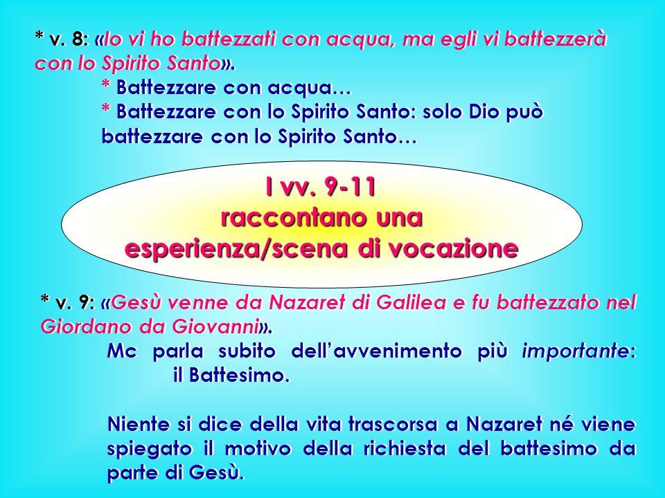 * v.8: «Io vi ho battezzati con acqua, ma egli vi battezzerà con lo Spirito Santo».