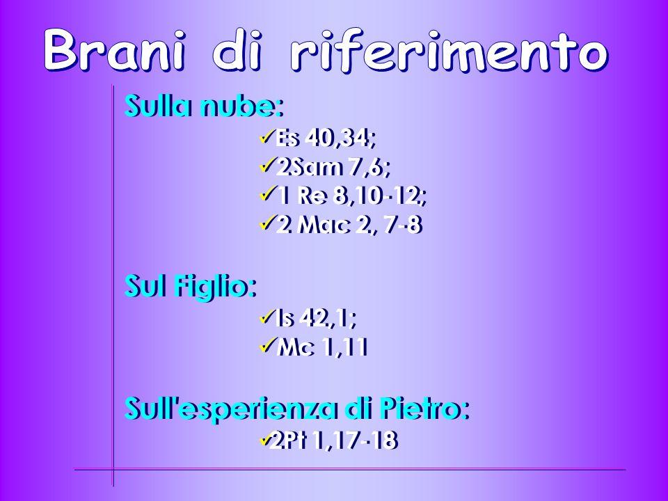Sulla nube: Es 40,34; 2Sam 7,6; 1 Re 8,10-12; 2 Mac 2, 7-8 Sul Figlio: Is 42,1; Mc 1,11 Sull esperienza di Pietro: 2Pt 1,17-18 Sulla nube: Es 40,34; 2Sam 7,6; 1 Re 8,10-12; 2 Mac 2, 7-8 Sul Figlio: Is 42,1; Mc 1,11 Sull esperienza di Pietro: 2Pt 1,17-18