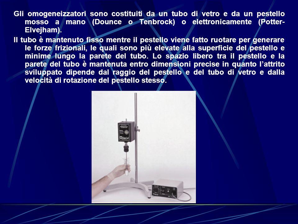 Gli omogeneizzatori sono costituiti da un tubo di vetro e da un pestello mosso a mano (Dounce o Tenbrock) o elettronicamente (Potter- Elvejham). Il tu