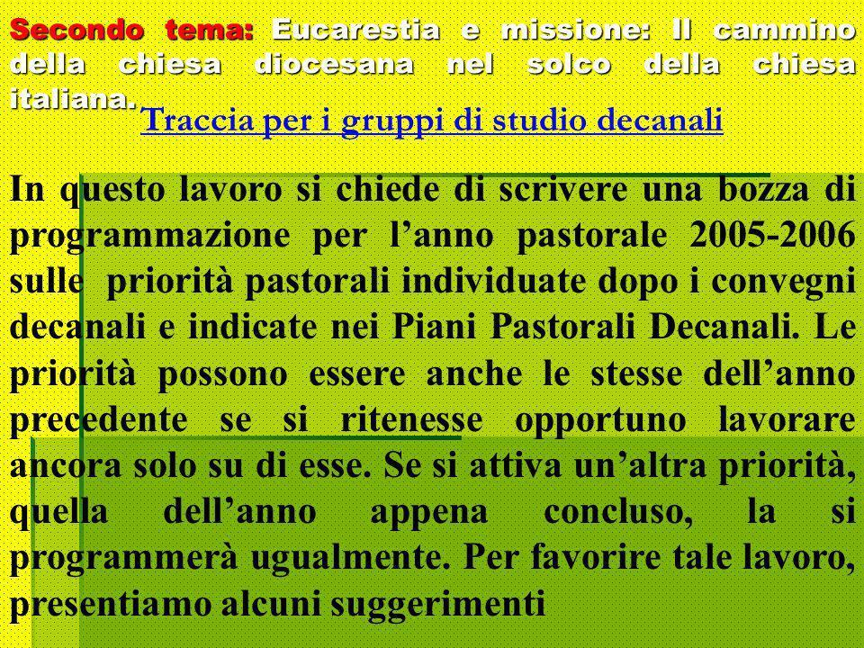 Secondo tema: Eucarestia e missione: Il cammino della chiesa diocesana nel solco della chiesa italiana.