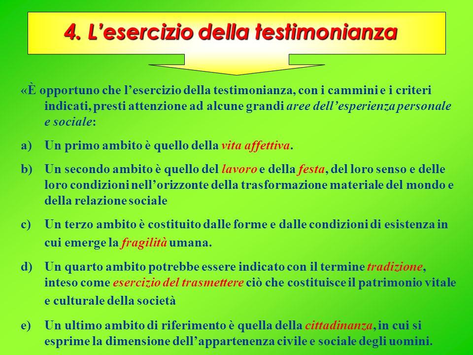4. Lesercizio della testimonianza «È opportuno che lesercizio della testimonianza, con i cammini e i criteri indicati, presti attenzione ad alcune gra
