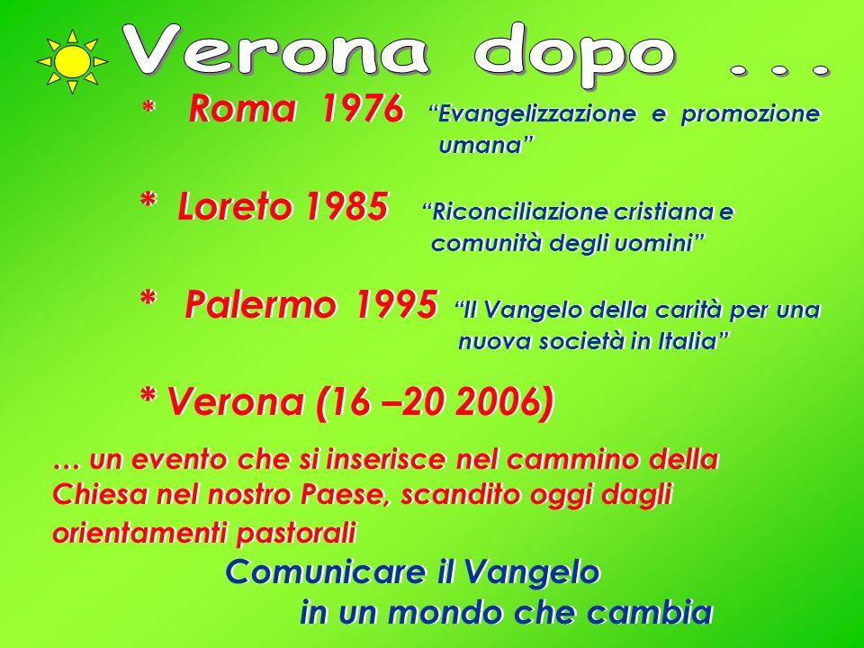 * Roma 1976 Evangelizzazione e promozione umana * Loreto 1985 Riconciliazione cristiana e comunità degli uomini * Palermo 1995 Il Vangelo della carità