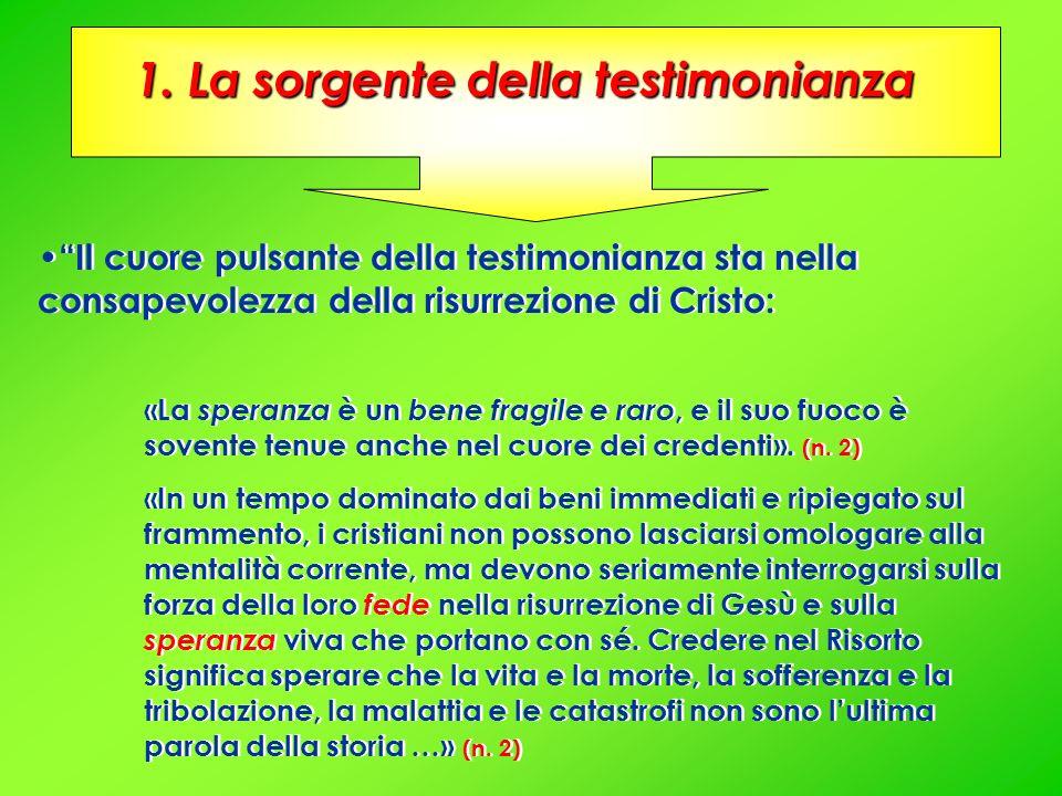 Il cuore pulsante della testimonianza sta nella consapevolezza della risurrezione di Cristo: «La speranza è un bene fragile e raro, e il suo fuoco è s