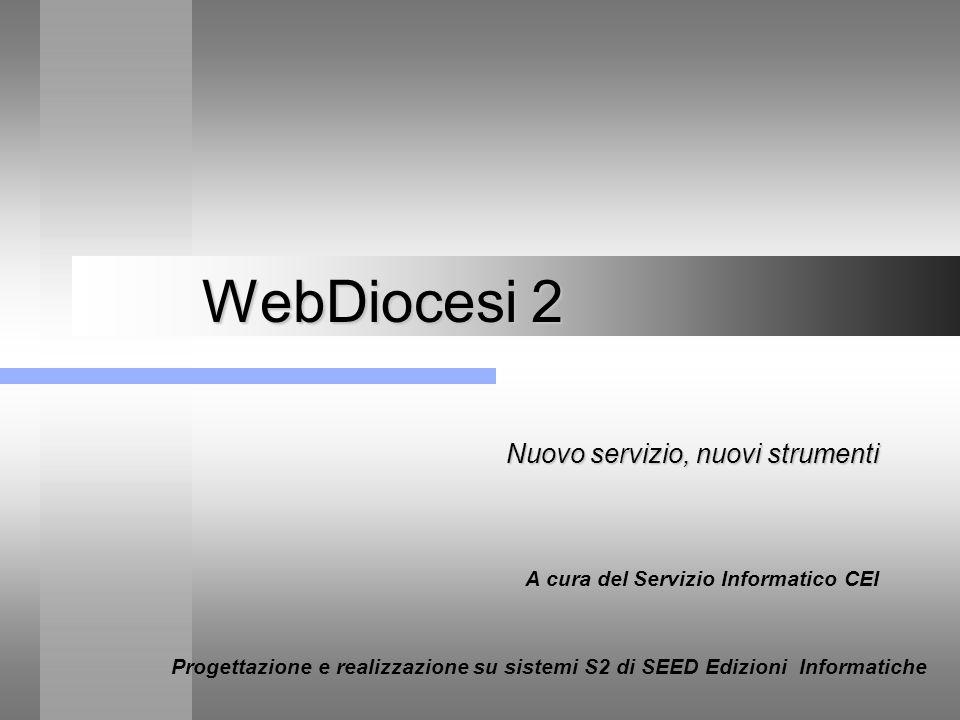 WebDiocesi 2 – Collocazione nel quadro dei servizi CEI Nuovo servizio, nuovi strumenti Webdiocesi 2 - Dicembre 2002 Parrocchie Diocesi CEI Utenti di Internet www.chiesacattolica.it Webdiocesi WebParrocchie Intranet CEI-DIOCESI Intranet DIOC-PARR.
