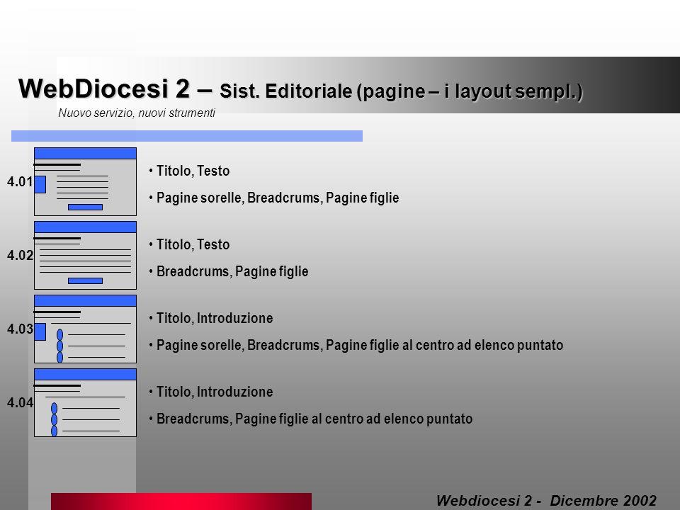 WebDiocesi 2 – Sist. Editoriale (pagine – i layout sempl.) Nuovo servizio, nuovi strumenti 4.01 Titolo, Testo Pagine sorelle, Breadcrums, Pagine figli